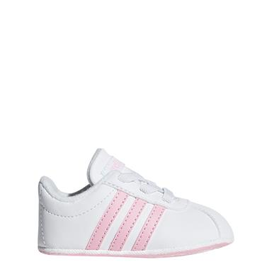 Adidas Infnat Girls VL Court 2.0 Shoes - White/Pink