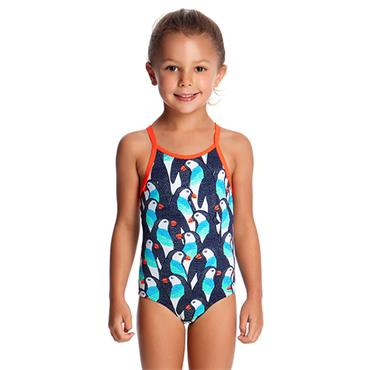 Funkita Girls Pengoo Parada Swimsuit - White Multi