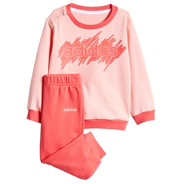 Adidas Infant Girls Linear Tracksuit - Pink