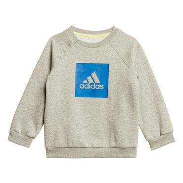 Adidas Boys 3 Stripe Fleece Jogger Tracksuit - Grey/Blue