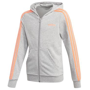 Adidas Girls Essentials 3 Stripe Full Zip Hoodie - Grey