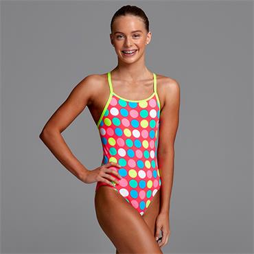 Funkita Girls Diamond Back Twister Swimsuit - Pink
