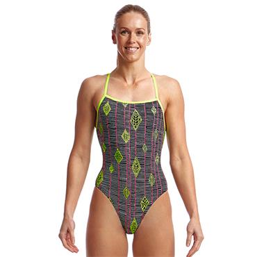 Funkita Womens Strapped in Kite Runner Swimsuit - BLACK