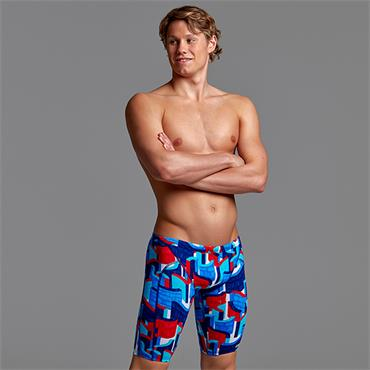 Funky Trunks Mens Block Rock Training Jammers - Blue/Red
