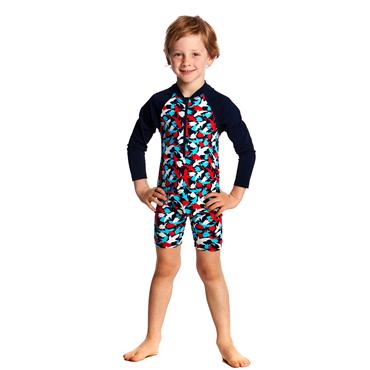 Funky Trunks Boys Feeding Frenzy Jumpsuit - Navy Multi