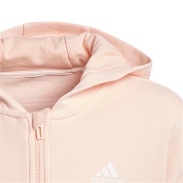 Adidas Girls 3 Stripe Full Zip Hoodie - Pink