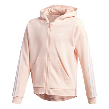Adidas Girls 3 Stripe Full Zip Hoodie - Pink
