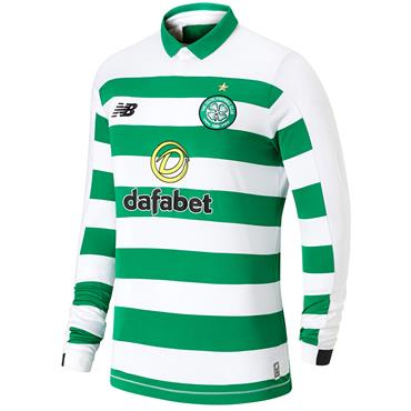 New Balance Adults Celtic Long Sleeve Home Jersey 2019/20 - Green/White