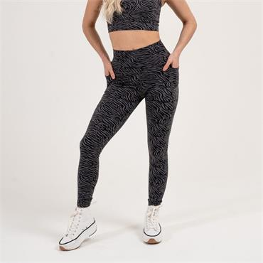 Gym Goddess Womens Oshun Leggings - BLACK ZEBRA