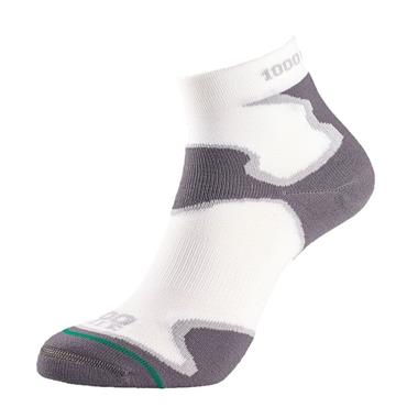1000 Mile Mens Fusion Anklet Running Socks - White/Grey