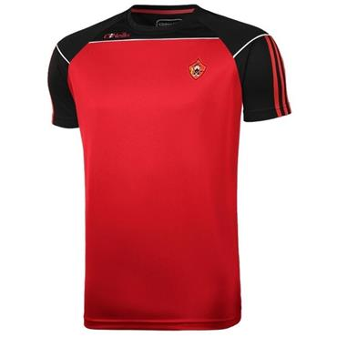 O'Neills Adults Urris GAA Aston T-Shirt - RED/BLACK/WHITE