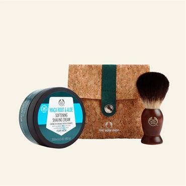 The Body Shop Maca Root & Aloe Softening Shaving Cream & Shaving Brush Set