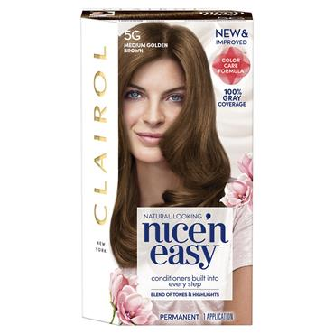 CLAIROL NICE ' N EASY PERMANENT HAIR DYE - 5G NATURAL MEDIUM GOLDEN BROWN