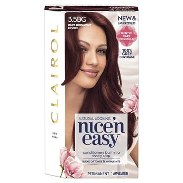 CLAIROL NICE ' N EASY PERMANENT HAIR DYE - 3.5BG NATURSL DARK BURGUNDY BROWN