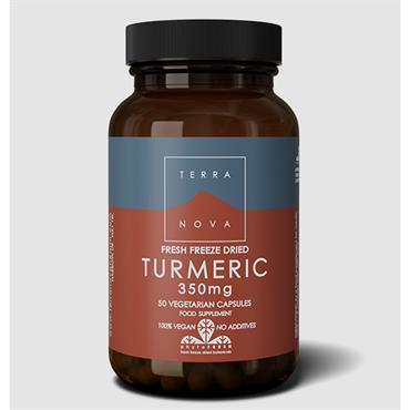 Terranova Turmeric Root 350mg Fresh Freeze Dried-Organic 50 Capsules