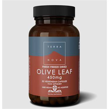Terranova Olive Leaf 450mg Fresh Freeze Dried-Organic 50 Capsules