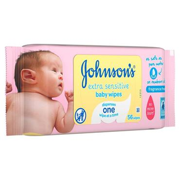 JOHNSON'S EXTRA SENSITIVE BABY WIPES - 56 WIPES