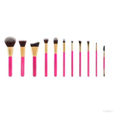 BLANK CANVAS Dimension Series Metallic Gold & Hot Pink 12 Piece Face & Eye Brush Set