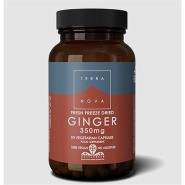 Terranova Ginger 350mg Fresh Freeze Dried Organic 50 Capsules