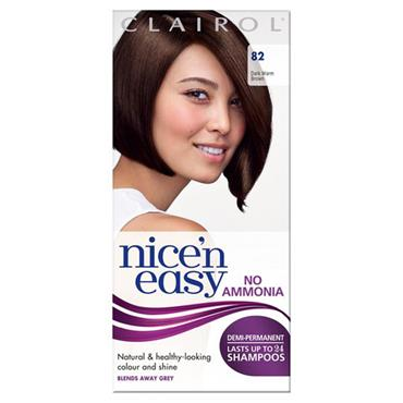 Clairol Nice N Easy Demi-Permanent Up To 24 Shampoos - 82 Dark Warm Brown