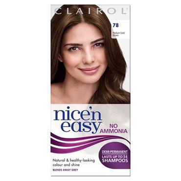 Clairol Nice N Easy Demi-Permanent Up To 24 Shampoos - 78 Medium Golden Brown