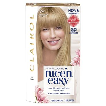 CLAIROL NICE ' N EASY PERMANENT HAIR DYE - 9A NATURAL LIGHT ASH BLONDE