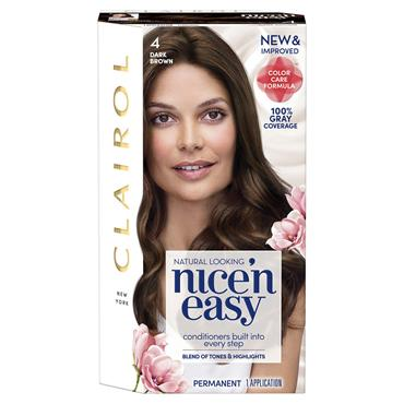 CLAIROL NICE ' N EASY PERMANENT HAIR DYE - 4 NATURAL DARK BROWN