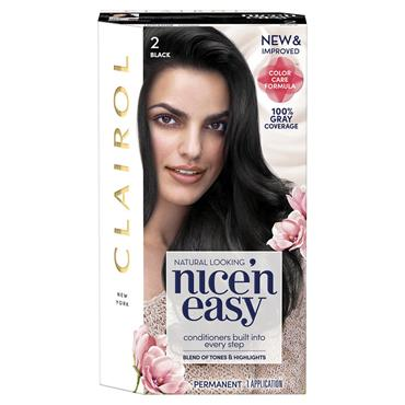 CLAIROL NICE ' N EASY PERMANENT HAIR DYE - 2 NATURAL BLACK