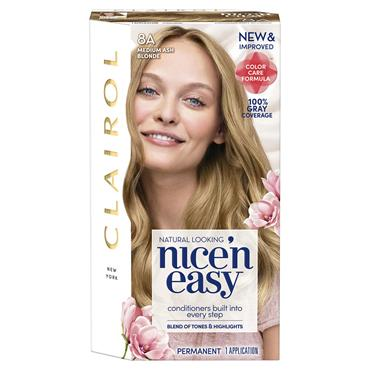 CLAIROL NICE ' N EASY PERMANENT HAIR DYE - 8A NATURAL MEDIUM ASH BLONDE