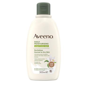 Aveeno Daily Moisturising Yogurt Body Wash Vanilla & Oat Scent Revitalises Normal To Dry Skin 300ml