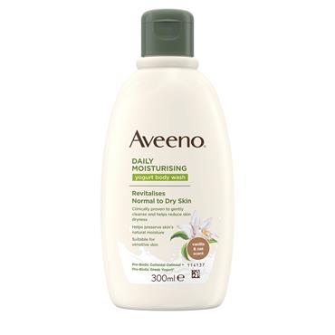 Aveeno Daily Moisturising Yogurt Body Wash Vanilla & Oat Scent Revitalises Normal To Dry Skin 300ml