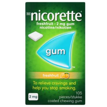 NICORETTE NICORETTE FRESHFRUIT 2MG MEDICATED CHEWING GUM 105 PIECES