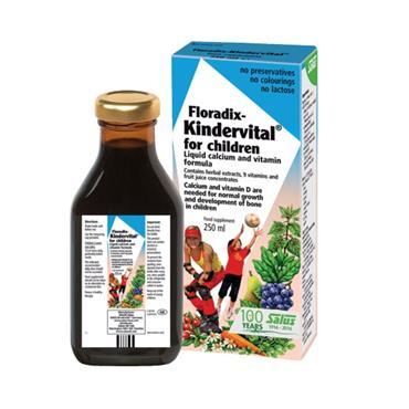 SALUS FLORADIX KINDERVITAL FOR CHILDREN LIQUID CALCIUM & VITAMIN FORMULA 250ML