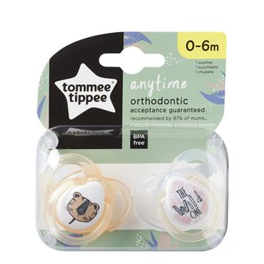 TOMMEE TIPPEE TOMMEE TIPPEE ANYTIME ORTHODONTIC SOOTHERS 0-6M