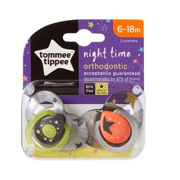 TOMMEE TIPPEE TOMMEE TIPPEE NIGHT TIME ORTHODONTIC SOOTHER 6-18M