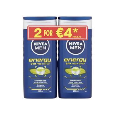 NIVEA NIVEA MEN ENERGY 24H FRESH EFFECT SHOWER GEL TWIN PACK