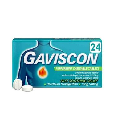 GAVISCON GAVISCON PEPPERMINT CHEWABLE TABLETS 24 PACK