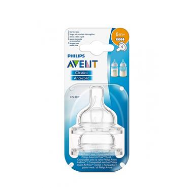 AVENT AVENT BPA FREE CLASSIC + ANTI-COLIC TEAT 6M+ FAST FLOW