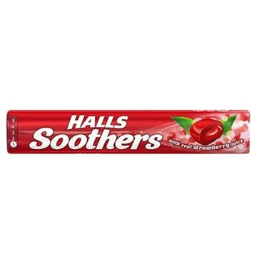 HALLS SOOTHERS STRAWBERRY FLAVOUR SOOTHING LOZENGES 45G