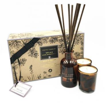 CELTIC CANDLE CELTIC CANDLE ORGANIC RELAX 3PC GIFT SET