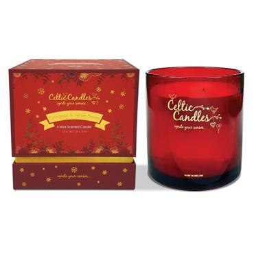 CELTIC CANDLE CELTIC CANDLE CINNAMON & WINTER BERRIES FOUR WICK SCENTED CANDLE