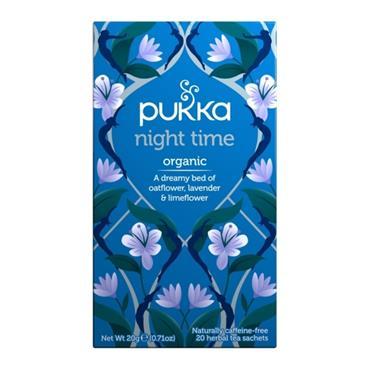 PUKKA PUKKA NIGHT TIME ORGANIC CAFFEINE FREE 20 HERBAL SACHETS
