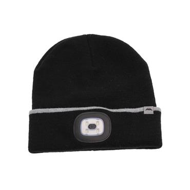 BLACK RECHARGEABLE LED TORCH HAT